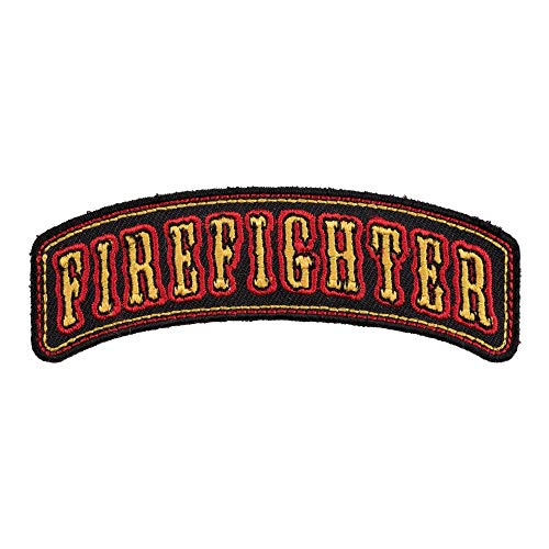 Firefighter Black & Yellow Rocker Patch, Firefighter Patches