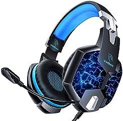 Auriculares Gaming PS4, YINSAN Cascos Gaming Premium Estéreo con Micrófono, 7 Luces LED y Orejeras de Memoria Suave,...