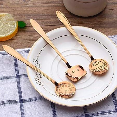 Jnyyjc Set di Posate 304 in Acciaio Inox Cucchiaio di caff/è Mescolare cucchiaino Clock Cute Cartoon Tempo Orso Spoon Color : Coffee Color Bear