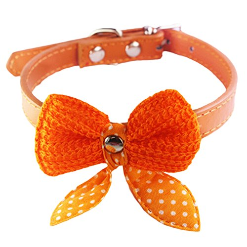 Bestpriceam  Hot Cute Knit Bowknot Adjustable PU Leather Dog