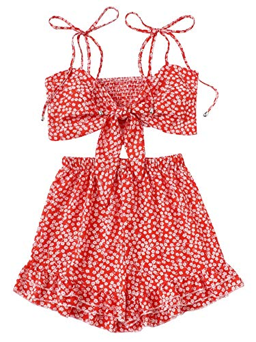 Ruffle Cami Set - SweatyRocks Women's 2 Piece Spaghetti Strap Knot Front Crop Cami Top with Shorts Set Red S