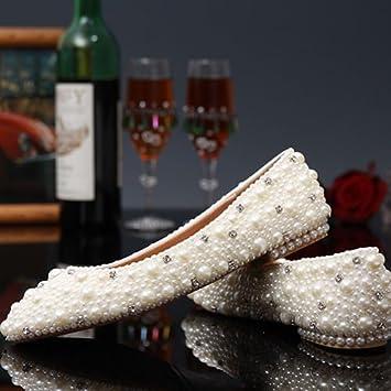 83b39abca2f8 JINGXINSTORE Evening Party Bridal Wedding Peal Shoes High Heels Flat  Platform Perform