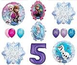 LoonBalloon FROZEN Anna ELSA OLAF Snowman Snowflake 5th #5 (12) Birthday Party Balloons Set