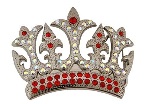 Princess Belt Crown (Crown Rhinestone Belt Buckle Royal Princess Prince Pugs Gear Pageant Kings Queen (Upscale Multi Col Crystals Size 4.0