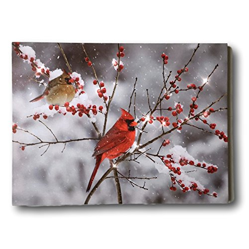 Cardinals Glass Night Light (BANBERRY DESIGNS Cardinal Canvas Print - LED Lighted Print with Cardinals and Berries - Winter Scene Artwork - Cardinal Pictures)
