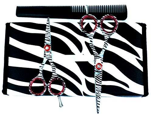 ZZZRT White Zebra Japanese J2 Stainless Steel Pro Razor edge Barber Hair Cutting Scissors Shears Set 4.5 & 5.5 with Comb + Free scissors Lubricant & scissors insert rings by ZZZRT traders