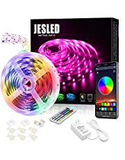 LED Light Strip for Bedroom - JESLED 5M Bluetooth RGB LED Strip Lights Kit with Remote, Sync to Music, App Controlled Color Changing SMD 5050 Rope Light for Kitchen Room Party Home DIY Decoration…