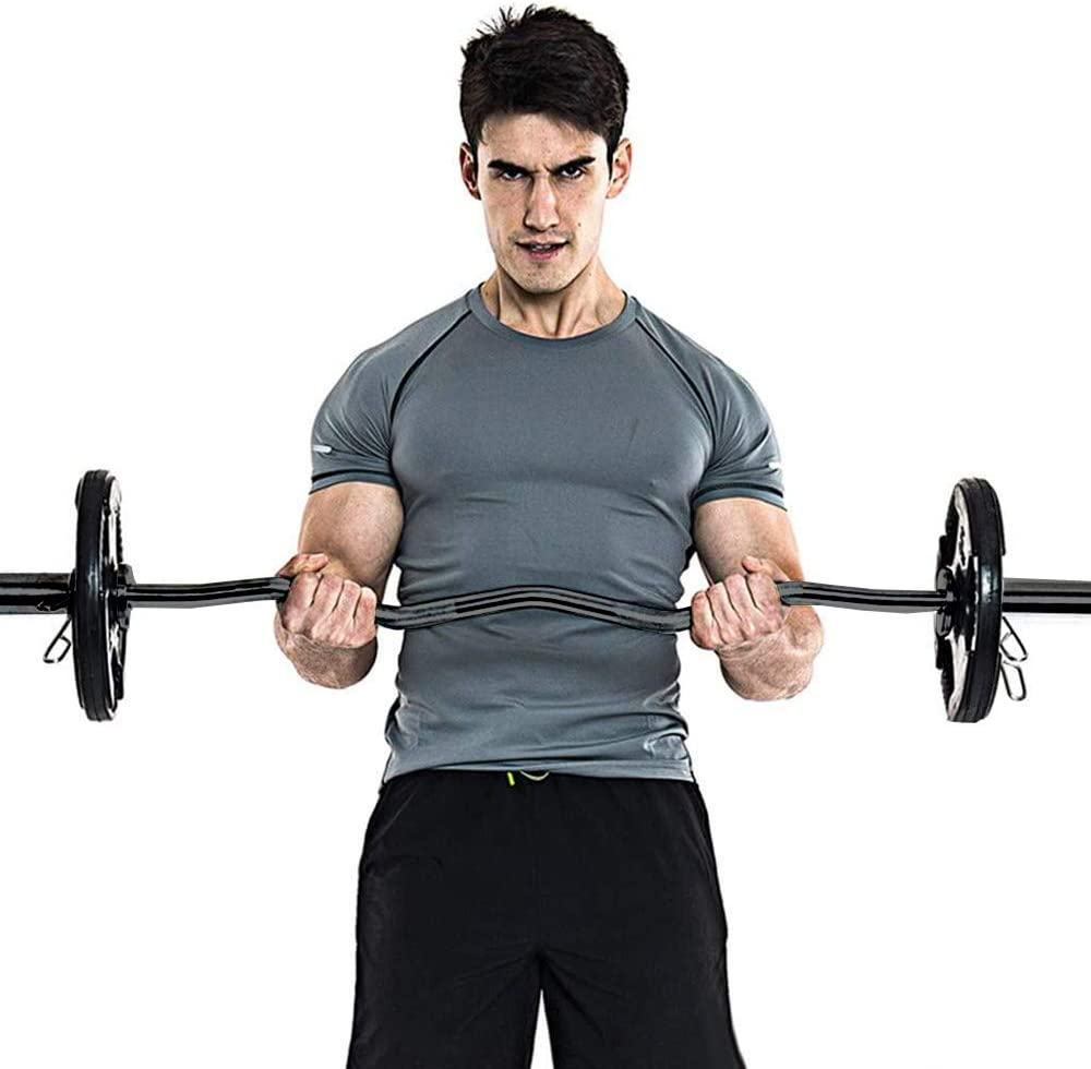 """EZ BAR 2/"""" BICEP CURL BARBELL BODY BUILDING HOME TRAINING GYM NEW RRP £100"""