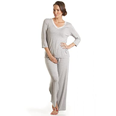 2a24b01e76d8 Camille Womens Luxury Lightweight Grey Full Length Pyjama Set   Amazon.co.uk  Clothing