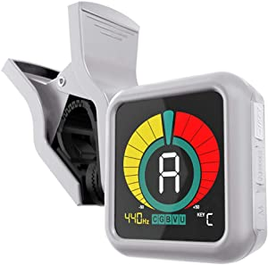 KLIQ UberTuner - Professional Clip-On Tuner for All Instruments - with Guitar, Ukulele, Violin, Bass & Chromatic Tuning Modes, White (Special Edition)