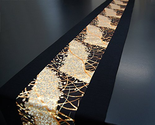 Traditional Japanese Table (SHINSENDO KIMONO table runner 300x30cm Japanese traditional fabrics Kinran (Pattern name:Miyabi))