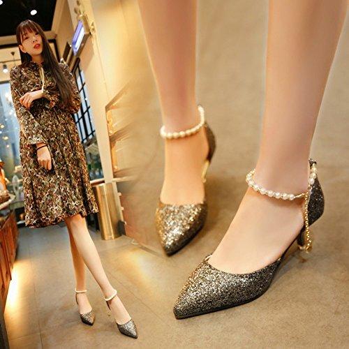 Único De Alto Brillante Hebilla Do Baja Con Verano Hyw Y Primavera Mujer Abrupto Tacón Zapato Sandalias Boca 17SwqBHp