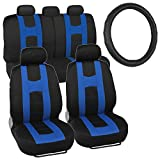 Blue/Black Sport Seat Covers for Car Auto w/ Stitched Vinyl Steering Wheel Cover