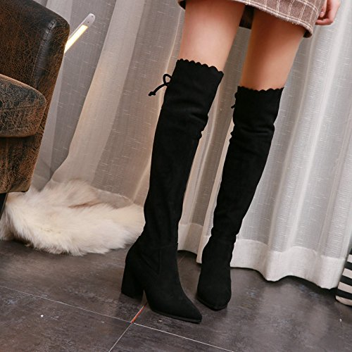 KPHY-Winter Boots Children Flouncing Suede Bow Pointed Boots Black Skinny Knee Boots With Thick Tide Black s5nCB