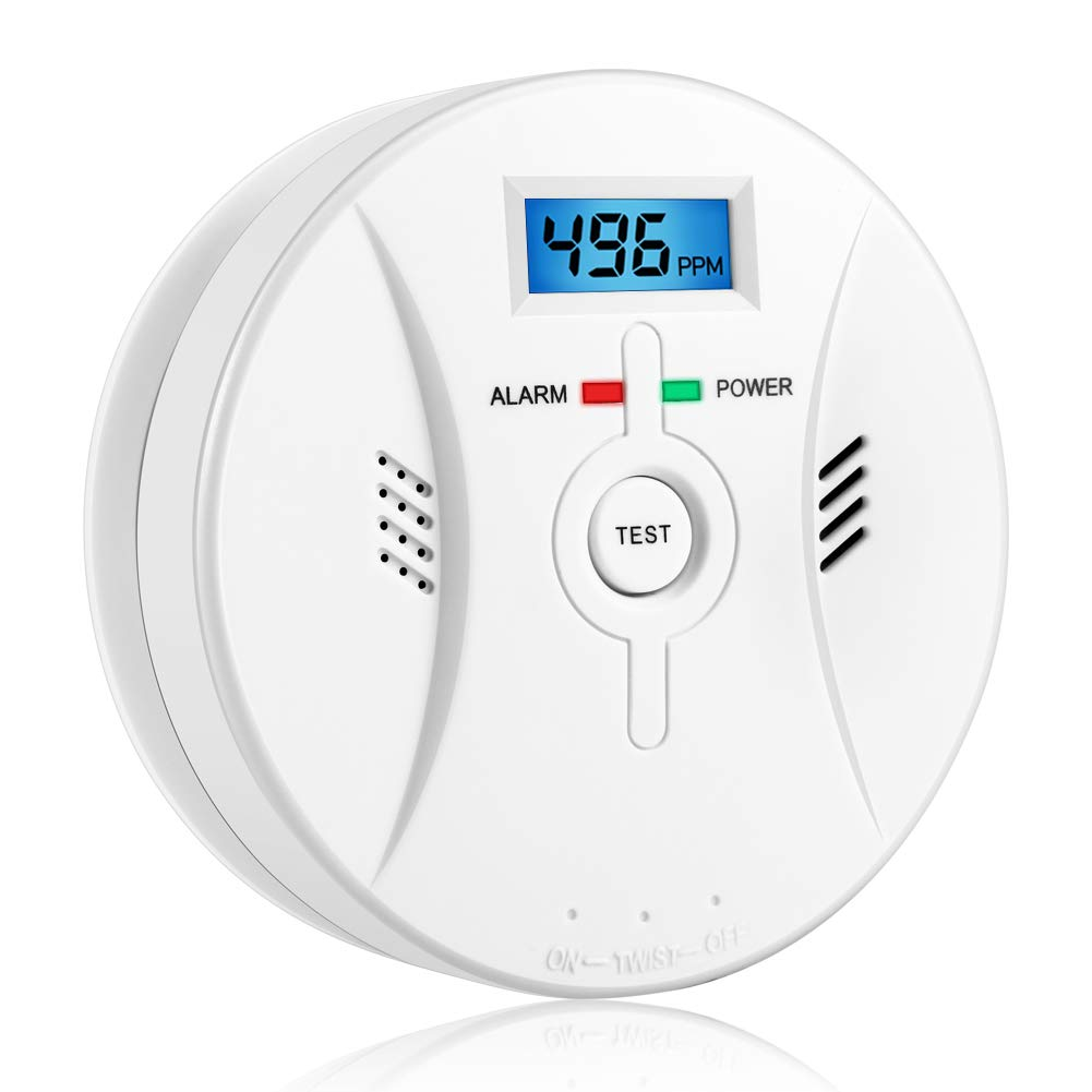 Combination Smoke and Carbon Monoxide Detector Alarm Digital Display for Travel Home Bedroom and Kitchen 9V Battery Operated by BQQZHZ