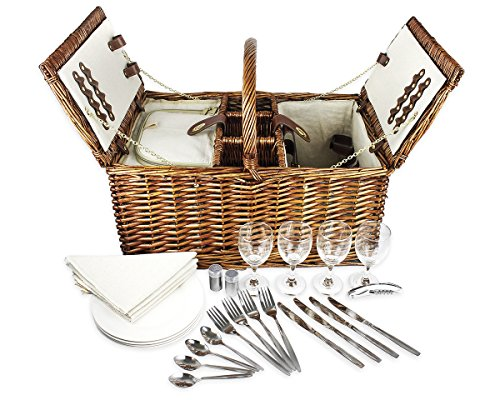 Deluxe Double Lid Classic Wicker Picnic Basket, For Four Fully Loaded - Includes Silverware, Glasses, and Accessories