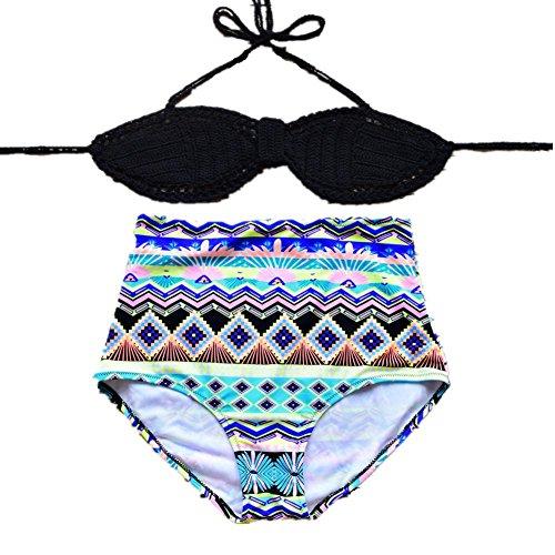 SZH YIBI bikini de la mano de la mujer - de punto rápida del medio ambiente - el secado de alta - la cintura Europa y el traje de baño partido Estados Unidos 4