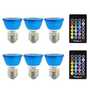 Yangcsl Dimmable E27/E26 LED Light Bulbs, 45 Degree Beam Angle and Memory Function, 3W RGB Uniform Color Changing Spotlight with IR Remote Control Mood Ambiance Lighting (Pack of 6)