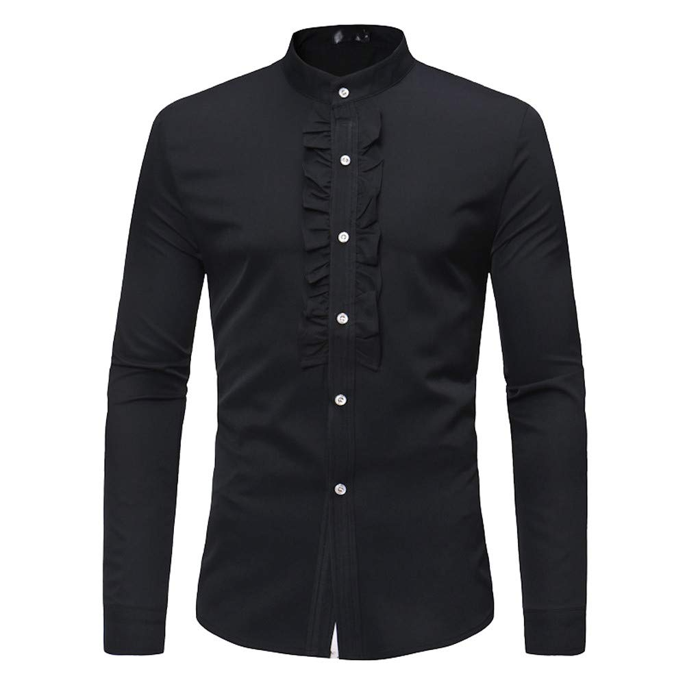2018 Wintialy Mens Autumn Winter Casual Perlin Stand Long Sleeve Button Shirt Top Blouse