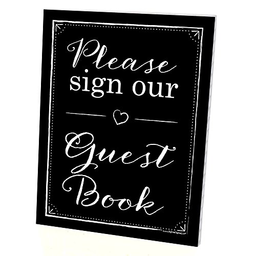 Guest Book Sign with Stand - Printed on Sturdy Plastic Material - 8.5