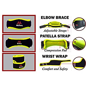 Tennis Elbow Brace & Patella Strap & Wrist Wrap by Mc Flony - Elbow Support, Knee Support & Pain Relief with Compression Pad for Tennis & Golfer's Elbow Black & Green, Unisex,All Sizes,Set of 3