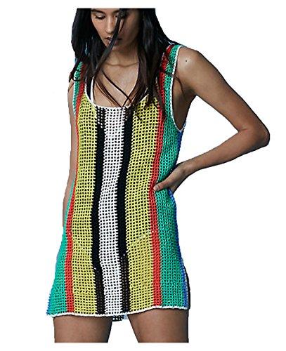 Wander Ago Beach Club Top Perspective Knit Cover Shirt Bikini Cover-up Net Stripe Colours -