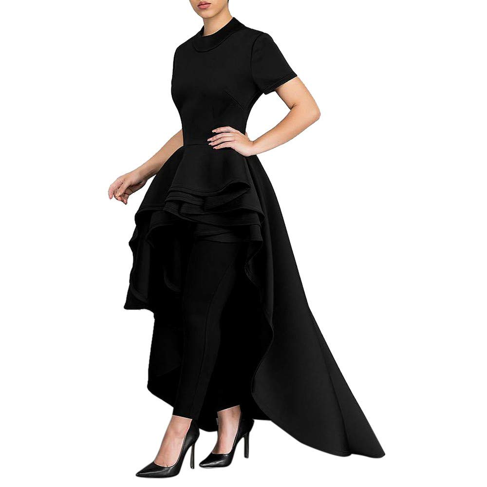 RoDeke Women's Summer Air Layer Short-Sleeved Round Neck Multi-Layer Lotus Leaf Pleated Side Swallowtail Skirt Black
