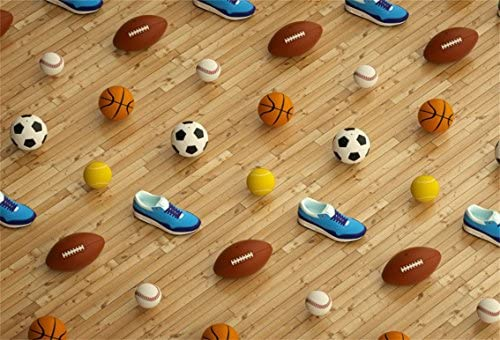 90fa27ef9 CSFOTO 6x4ft Background for Variety of Balls Gym Shoes on Wood Floor  Photography Backdrop Football Basketball Golf Ball Sport Soccer Sporting  Goods Shop ...