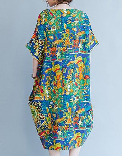GA876 Blu Sciolto A Stampa Lino Con Vestito A Di Pipistrello Stile Fiore In D'ala T In Forma Estate ELLAZHU Di Maniche In GA879 shirt A Donna 7gqx4WIB