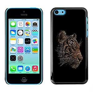 Be Good Phone Accessory // Dura Cáscara cubierta Protectora Caso Carcasa Funda de Protección para Apple Iphone 5C // Word Art Tiger Typography