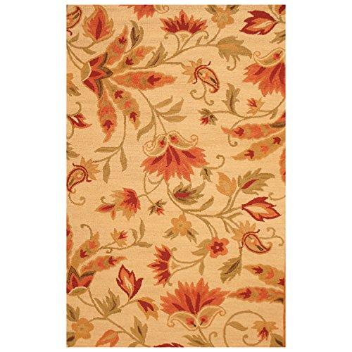 (Herat Oriental Indo Hand-Tufted Floral Beige/Red Wool Rug, 4' x 6')