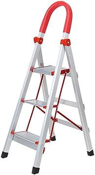 CWJ Taburete de Escalera Multifunción, Escaleras de Tijera para el Hogar Taburete Plegable para Adultos, Escalera de 3 Peldaños con Agarre Manual, Escalera de Peldaño de Pedal Ancho, Capacidad de 330: Amazon.es: