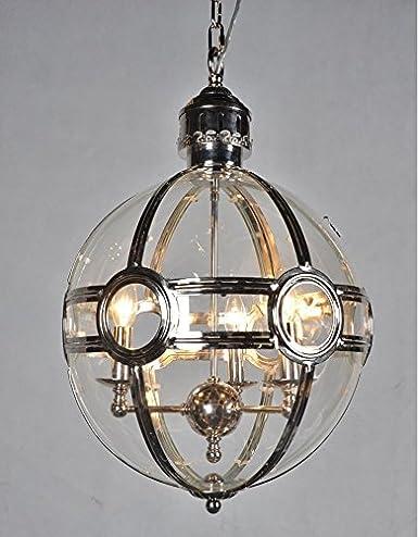 19th C Victorian Globe Pendant Chandelier Polished Nickel Dia 17 5