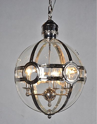 - 19Th C. Victorian Globe Pendant Chandelier Polished Nickel Dia 17.5