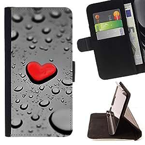Jordan Colourful Shop - Red Heart Drop Rain For Apple Iphone 6 PLUS 5.5 - < Leather Case Absorci????n cubierta de la caja de alto impacto > -