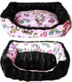 Reversible bumper dog bed Pink Unicorn Small
