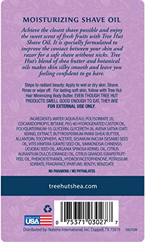 Tree Hut bare Moisturizing Shave Oil with Pomegranate Citrus scent, 7.7oz, Essentials for Soft, Smooth, Bare Skin