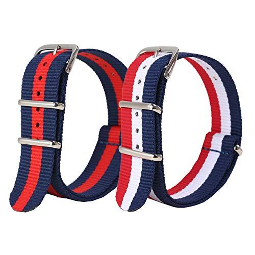 Vetoo Nylon Replacement Watch Band, Strip Red & Strip RWB, 22mm