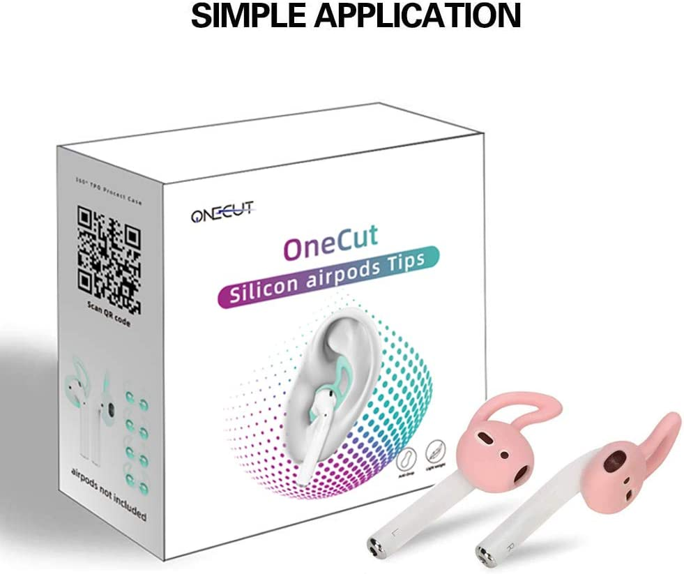 OneCut 5 Pairs Silicone Ear Tips for Apple AirPods//EarPods,Silicone Soft Covers Anti-Slip Sport Earbud Tips Black Anti-Drop Ear Hook Gel Headphones Earphones Protective Accessories Tips