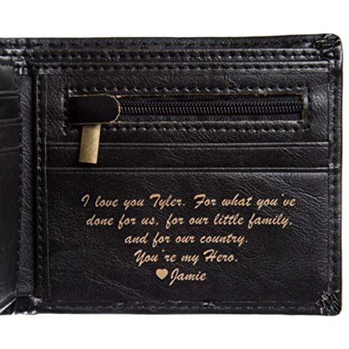 Men's Leather Bifold Wallet For Men - Custom Laser Engraving (Black Classic) ()