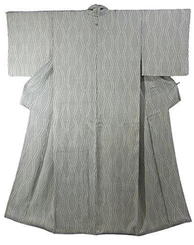 ぬいぐるみスタッフ危険リサイクル 着物 小紋 一つ紋 十字模様 立涌のような模様 正絹 袷 裄63cm 身丈156cm