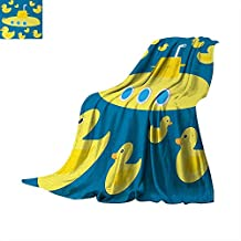 """Anhuthree Rubber Duck Throw Blanket Duckies Swimming in The Sea with a Yellow Submarine Kids Party Nautical Print Custom Design Cozy Flannel Blanket 60""""x50"""" Navy Blue"""