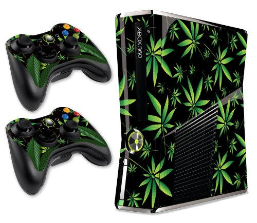 Designer Skin for Xbox 360 Slim and Two Controllers - Weeds - Black