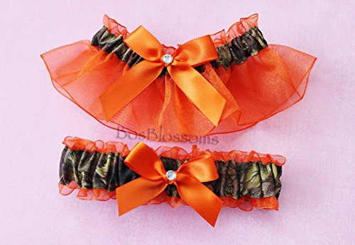 Customizable handmade - Camouflage fabric & orange sheer organza bridal prom camo garter set with deer duck fish heart charms or rhinestones (Country Prom Theme)