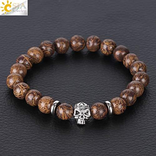 Men Skull Bracelets Antique Silver Color Natural Lava Stone Black Agates Pink Crystal 8mm Beads Male Female Elastic S085 A