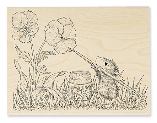 STAMPENDOUS Wood Handle Rubber Stamp, Painted Pansies