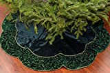 Limited-Edition Handmade Traditional Green Silk Velvet Antique Style Victorian French Country Christmas Tree Skirt. 54'' Round.