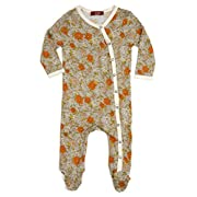Milkbarn Bamboo Footed Romper  Grey Floral  (3-6 Months)