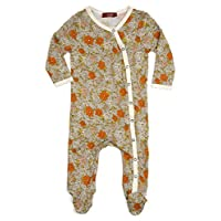 """Milkbarn Bamboo Footed Romper """"Grey Floral"""" (3-6 Months)"""