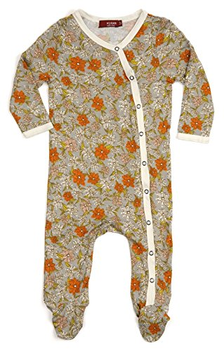 MilkBarn Bamboo Footed Romper Grey Floral